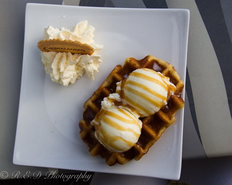 cadwaladers cardiff bay toffee waffle with vanilla ice cream and whipped cream