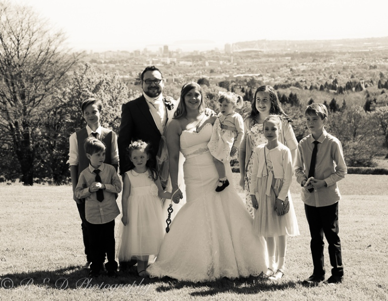 wedding photography bride and groom with children