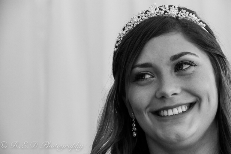 black and white wedding photography bride smiling