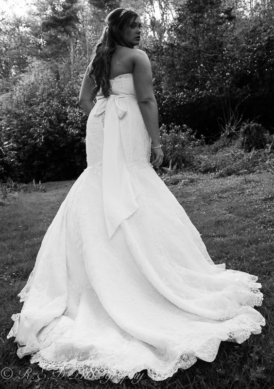 black and white wedding photography bride and dress