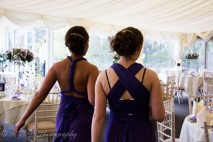 wedding photography bridesmaids in marquee