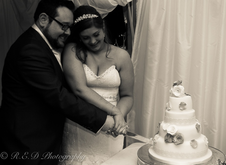wedding photography cutting the cake